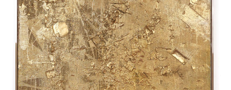 """Gold ist Farbe"", 184x154x5 cm, Jute, Acryl, Plexi gerahmt, 2016"