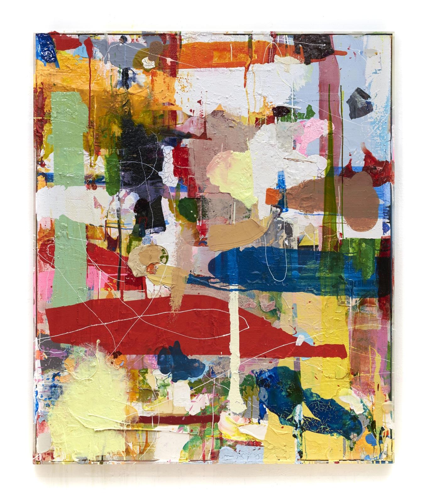 """""""Enjoy the end"""", 183x153x5 cm, Acrylfarbe, Leinwand, Jute, Plexi gerahmt, 2017"""