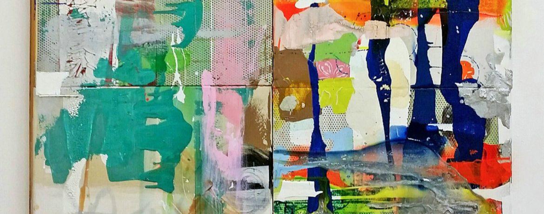 """""""Quellgebiet"""", 131x123x6 cm, Acrylfarbe, div. Stoffe, Geldmünzen, 2008"""
