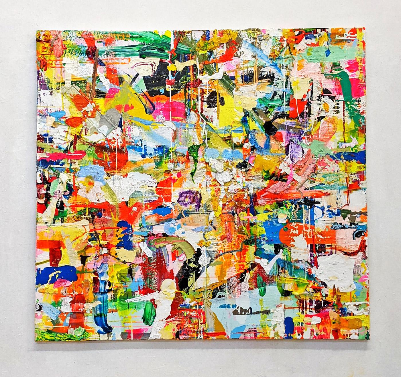"""Handelsplatz"", 150 x 160 cm, Acrylfarben, Leinwand, 2021"
