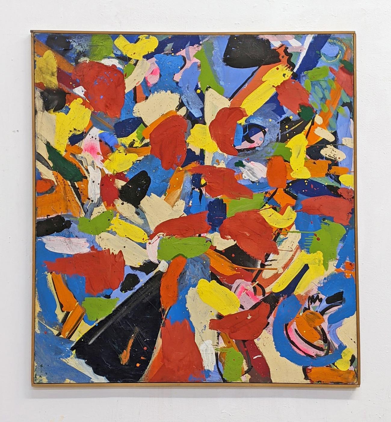 """Schweben"", 120 x 110 cm, Acrylfarbe, Nessel, 1985"