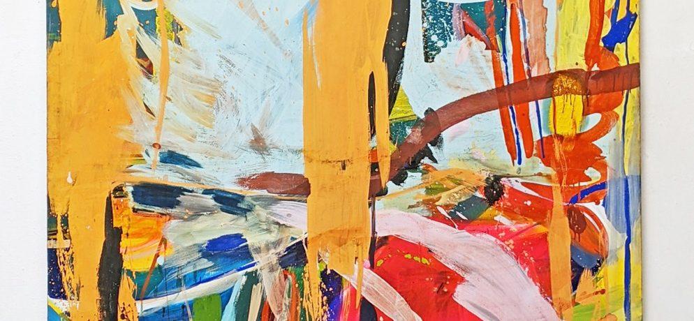 """Fallen"", 248 x 167 cm, Acrylfarbe, Nessel, 1985"