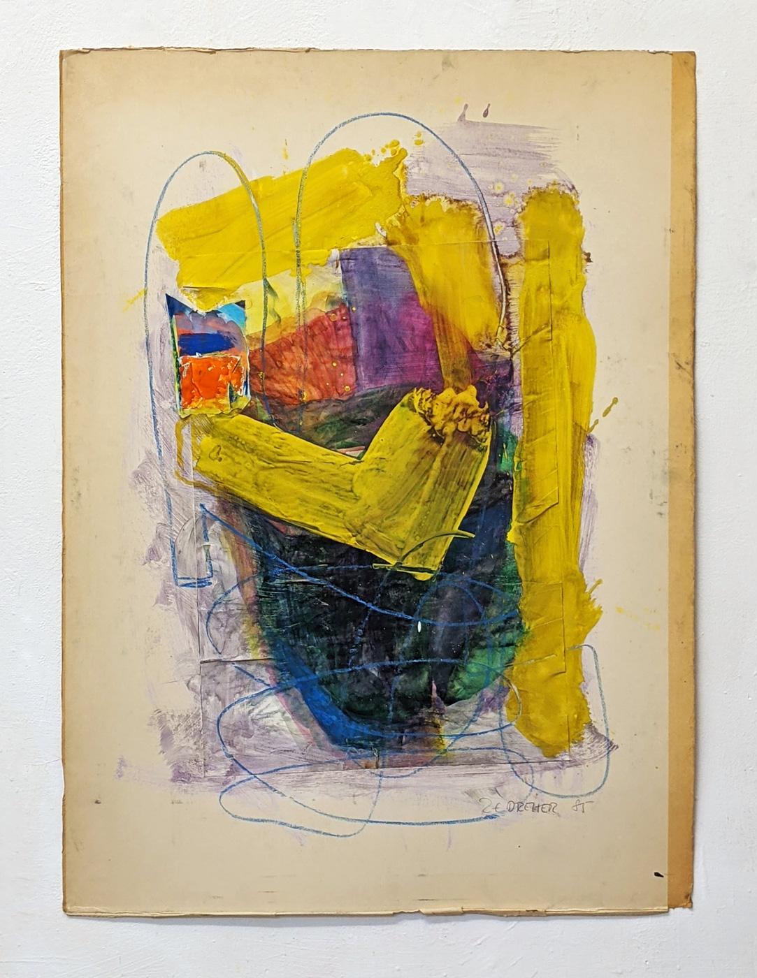 """Geste in Gelb"", 100 x 74 cm, Acrylfarbe, Kreide, Pappe, 1985"