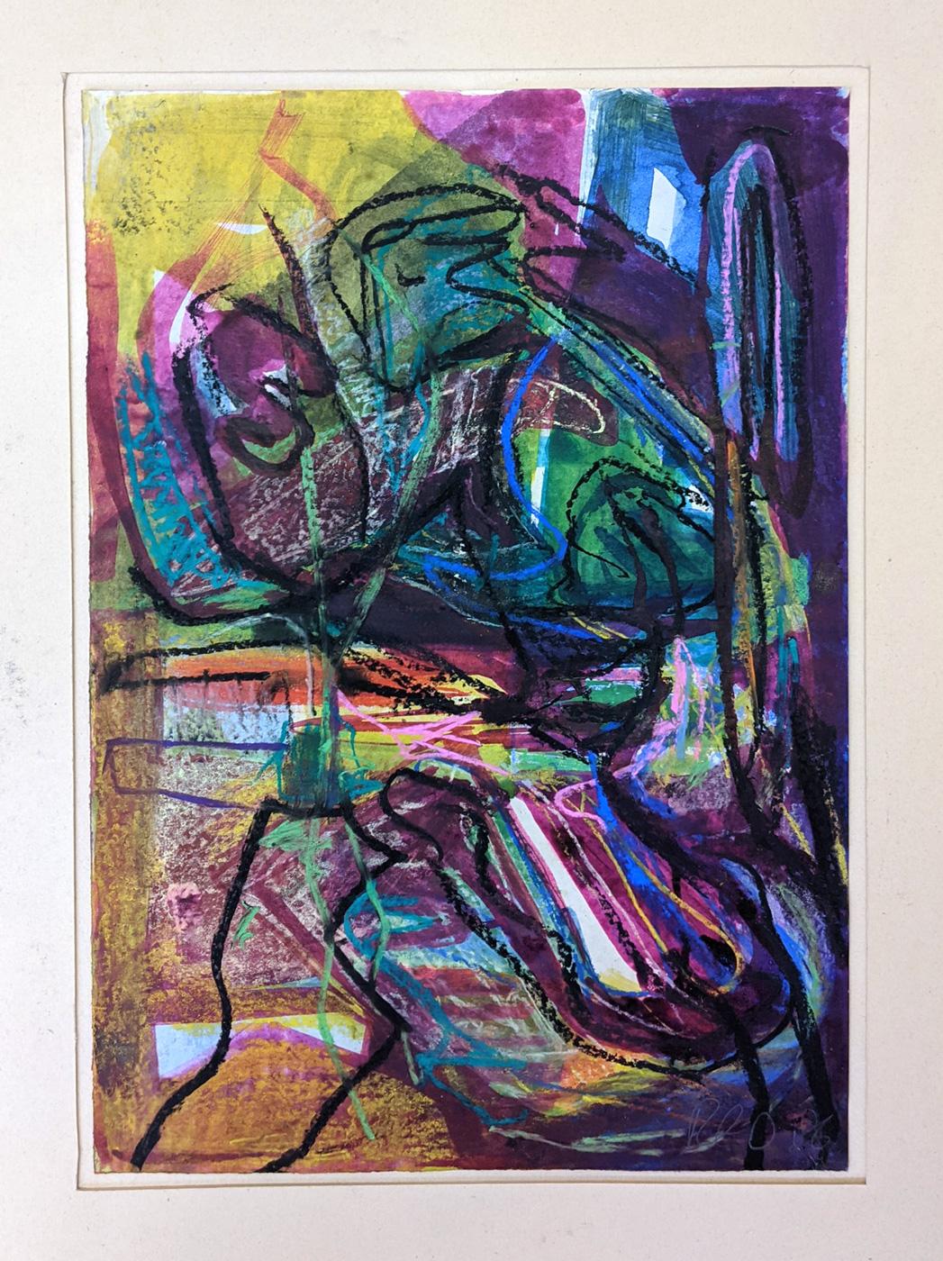 """Verblühen"", 43 x 30 cm, Acrylfarbe, Kreide, Papier, 1986"